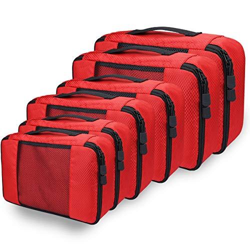 Kleidertaschen Kofferorganizer Set, Netspower Packing Cubes Packwürfel Aufbewahrungstasche Ultraleichte Kulturbeutel Taschenorganizer Atmungsaktiv für Handgepäck Rucksäcke - Rot