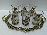 India Best Seller Handicraft Items Indian Cultural Art Metal Designer Tray With Set Of 6 Glasses