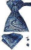 Set Hi-Tie de pañuelo y corbata de seda con estampado de cachemir, y gemelos, para hombre Azul azul