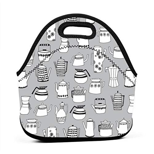Tea Pots Coffee Pots Scandi Grey Simple Tea Teapots Cute Tea Fabric Neoprene Lunch Bag with Cutlery Case for Thermal Thick Lunch Tote Bag for Adults,Kids