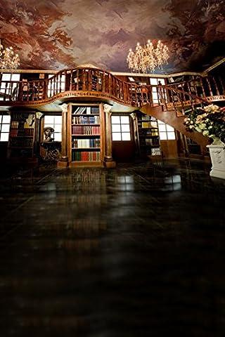A.Monamour Große Halle Bibliothek Bücherregal Innentreppe Retro Hochzeit 5x7ft Studio