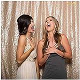 ShinyBeauty Champagner-Pailletten Hintergrund Vorhang-50x72in Pailletten Foto Hintergrund, Abschlussball Fotografie Background(125x180cm) (Champagner)