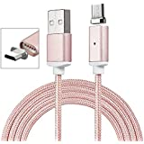 Charge rapide Câble magnétique Micro USB Câble renforcé renforcé Nylon Câble MICRO USB / Câble chargeur - [Aimant fort] [Supporte une charge rapide] POUR Samsung Galaxy J3 (2017), J5 (2017), J7 (2017), A3, A5, A7, A8, A9, C5, C7, E5, E7, J1, J2, J3, J5, J7, Note 2, Note 3, Note 4, Note5, On5, On5 Pro, On7, On7 Pro, On8, S5, S5 Plus, S6, S6 active, S6 edge, S6 edge Plus, S7, S7 active, S7 edge, Xcover 3 - Or rose