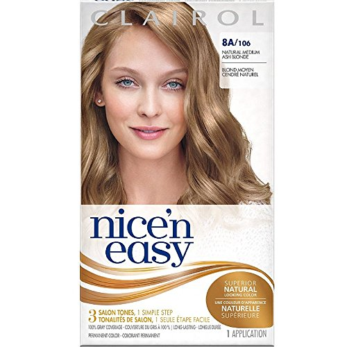 Clairol Coloration permanente Nice 'n Easy avec Color Blend Technology - Tons chauds et reflets - Couleur 106 - Blond cendré moyen naturel