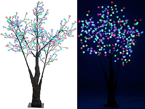 Luminea LED Baum Lichterbaum: LED-Deko-Kirschbaum, 336 farbig beleuchtete Blüten, 180 cm, IP44 (LED-Baum für außen)