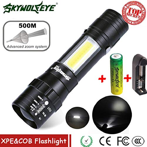 LED Taschenlampe,Rovinci Superhelle 3000 Lumen CREE XPE Q5 + COB Handlampe mit Zoom 4 Schaltmodus einstellbare Fokus Taktische Taschenlicht Flashlight,14500 Batterie,Ladegerät inbegriffen