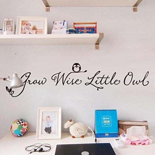Saingace Grandir avec des Lettres Little Owl Anglais Vinyl Stickers Muraux Stickers Muraux Décor