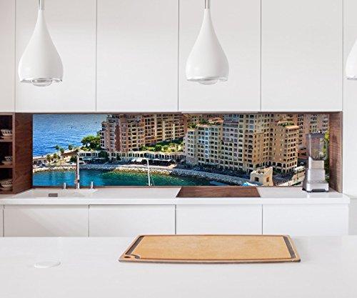 Aufkleber Küchenrückwand Skyline Monte Carlo Monaco Frankreich Folie selbstklebend Dekofolie Fliesen Möbelfolie Spritzschutz 22A996, Höhe x Länge:90cm x 200cm -