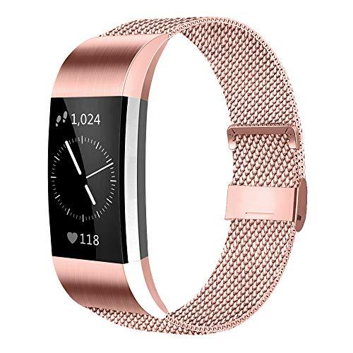 AK Für Fitbit Charge 2 Armband (2 Größen), Metall Mesh Magnetverschluss Edelstahl Ersatzband für Fitbit Charge 2 (Rosa, Small)