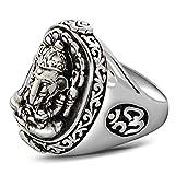 Blisfille Silber Ring Herren 925 925 Silber Herrenringe Trauringe Retro Elefant Ringe Gr.65 (20.7)
