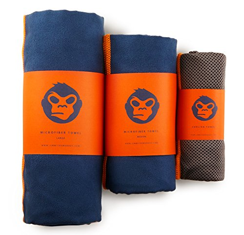 Jimmi the Monkey Mikrofaser-Handtuch 3er-Set: Large, Medium + Cooling Towel (Orange)