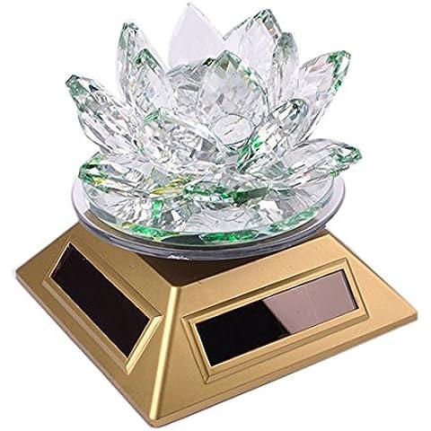 Feng Shui Crystal flor de loto decoración de la energía solar, Verde
