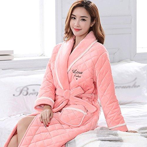 Bademäntel Winter-Dame Sleep Robe Reine Baumwolle Verdickung DREI Schicht warmen Plus Langen Abschnitt Startseite Kleidung GAODUZI (Farbe : B-XL)