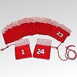 Adventskalender zum selber befüllen. Rote Filzsäckchen mit weißem Zahlensatz von 1-24. Mit Aufhängekordel.