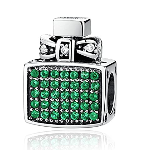 BAMOER 925 Sterling Silver Charms Perfume Bottle Design Fits Bracelet Necklace with Cubic Zirconia