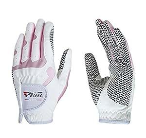 Gants antidérapants confortables de gants de golf respirables pour des enfants, rose blanc