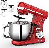 FIMEI Küchenmaschine Multifunktional, Knetmaschine 1000W, Rührmaschine Teigmaschine, 6 Geschwindigkeiten, 5L Edelstahlschüssel, mit 3 Rührwerkzeugen, mit Spritzschutz, Anti-Rutsch-Design (Rot)
