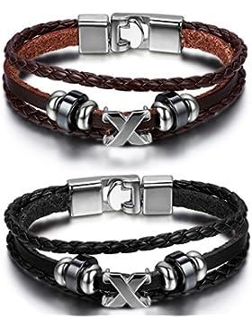 Oidea 2PCS Damen Herren Armband, Kreis Ring Infinity X Symbol Mehrreihig Geflochten Armreif Partnerschaftsarmband...