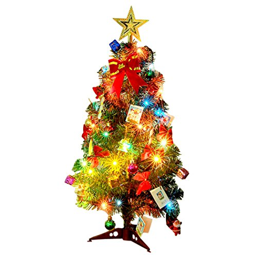 Albero di Natale, Outgeek 60cm (24in) Albero di Natale artificiale con Pinecone Piccola Santa Apple Ribbon Stella Ornamenti String Light