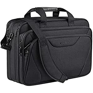 "KROSER 18"" Laptop Bag Laptop Briefcase Fits Up to 17.3 Inch Laptop Expandable Water-Repellent Shoulder Messenger Bag Computer Bag for Travel/Business/School/Men/Women-Black"