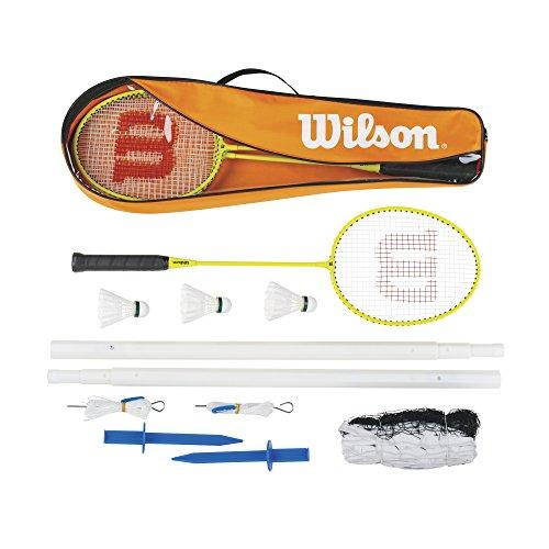 Wilson Kit de Badminton Homme/Femme, 4 Raquettes et 3 volants, Pour les amateurs, Badminton Set, Orange/Jaune, WRT8754003