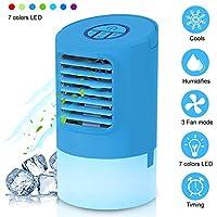Refroidisseur D'air Portable, EEIEER 4 en 1 Mini Climatiseur Portable Ventilateur Climatiseur Mobile Humidificateur d'air froid Silencieux 24v avec 7 couleurs Lumière d'ambiance pour Maison/Bureau