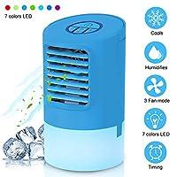 """Condizionatore d'aria personale, WANWEIGOU Air Cooler da 9,5"""", piccolo ventilatore da tavolo personale silenzioso, mini ventilatore da tavolo, umidificatore senza umidità per ufficio, casa, comodino.  Specifiche:  1. Tensione: DC 24V 1A (adat..."""