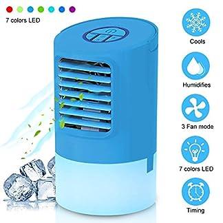 WANWEIGOU Enfriador Aire Portatil Aire Acondicionado Móvil Mini Ventilador Humidificador Purificador de Aire Personal Enfriador Climatizador Portátil con 7 Colores LED, para Casa/Oficina