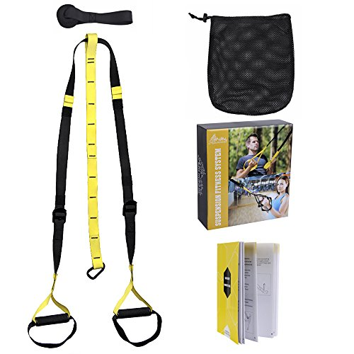 Asamoom Pro Suspension Trainer Kit, Upgrade Door Anchor Body Fitness Straps Training Resistance Workout Home Gym