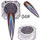 poudre paillette ongle, BZLine Sequins Nail Miroir Poudre Chameleon Glitter Chrome Poudre paillette ongle (Noir)
