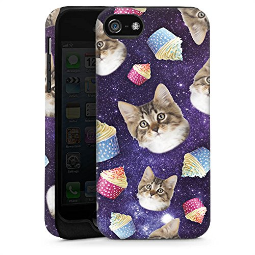 Apple iPhone 5s Housse Étui Protection Coque Chats Galaxie Motif Cas Tough brillant