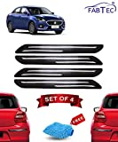 Fabtec Rubber Car Bumper Protector Guard with Double Chrome Strip for Car 4Pcs - Black (Maruti Swift Dzire)