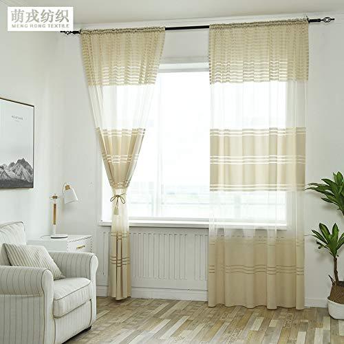 qcl3d Vorhänge Vorhang Gardinen Schlafzimmer Curtains_Explosive gestreifte Schattierung Gaze Balkon Schlafzimmer Vorhänge High Light, Beige, 1,4x2,4 Meter hoch -