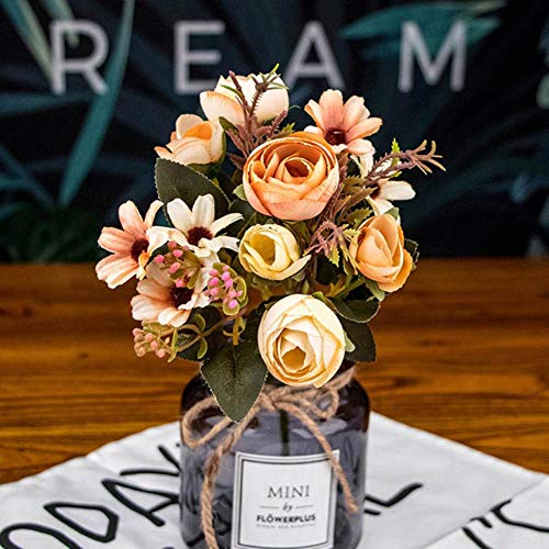 Yf-1 - fiori finti di tè autunnali in seta, gerbera, margherite, fiori artificiali in plastica, per matrimoni, decorazione della casa yellow