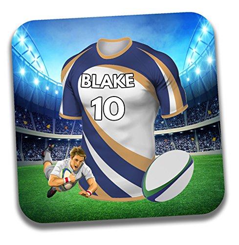 Personalisiertes Geschenk-Rugby-Shirt Mottoparty Getränke Untersetzer/Bierdeckel-Geburtstagsgeschenk-Strumpffüller-Die brumbies Farben
