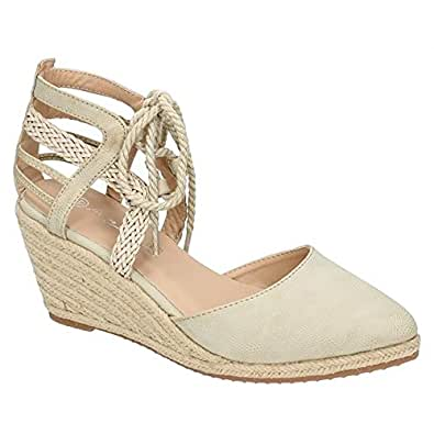 Anne Michelle Damen Keil-Sandale mit Schnürung (37 EU) (Natur)