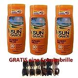 Sundance Sonnenmilch LSF 50 Hoch, 3er Pack (3 x 200ml) und GRATIS eine usy Sonnenbrille UV400 (1 Stk, keine Farbwahl)
