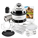 JML White Halowave Oven Aircooker Deluxe Halogen Cooking With Rotisserie Function 14 Pc Set