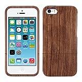 kwmobile Funda para Apple iPhone SE / 5 / 5S - Carcasa Protectora de [Madera] para móvil - Case [Duro] en [marrón]