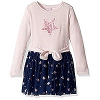 فستان بناتي من Youngland للفتيات الصغار بتصميم سترة لامعة مع زخرفة Pink/Blue 3T