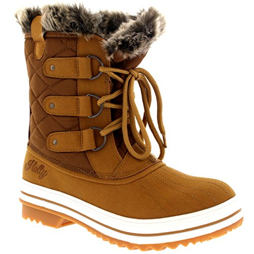 Damen Schnee Stiefel Nylon Short Schnee Pelz Regen Wasserdicht Stiefel - Bräune - 39 - CD0033