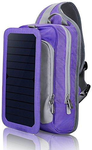 HOWO Solar Ladegerät Rucksack 6,5 Wände Solarpanel Tasche für Smart Handys und Tablets, GPS, eReader, Bluetooth-Lautsprecher, Gopro Kameras (Lila) (Smart-handy-ladegerät)