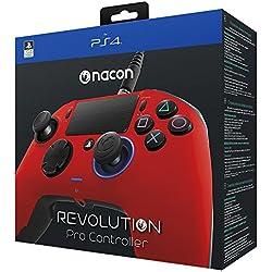 NACON Revolution Pro Manette de Jeu Playstation 4 Rouge - Accessoires de Jeux vidéo (Manette de Jeu, Playstation 4, Analogique/Numérique, Maison, Sélectionner, Partage, Bleu, avec Fil)