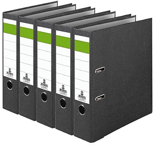 Grüner Balken Ordner-Wolkenmarmor Recycling 8 cm breit DIN A4 schwarz 5er Pack Made in Germany Ringordner Aktenordner Briefordner Büroordner Pappordner Schlitzordner Blauer Engel (5er Pack breit)