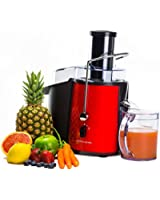Andrew James Professional Whole Fruit Power Juicer In Stunning Red, Includes 2 Year Warranty, Juice Jug And Cleaning Brush