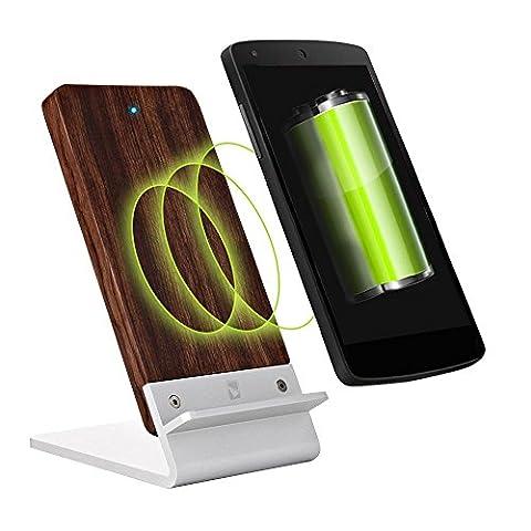 Drahtloses Ladegerät und Ständer für Motorola Moto X Force Mobiltelefone, COOPER ECOSTAND Wifi QI Wireless Schnellladestation Pad PowerMat aus Holz (Palisanderholz)