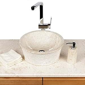 naturstein marmor waschbecken waschschale aufsatzbecken steinbecken 40 cm creme handwaschbecken. Black Bedroom Furniture Sets. Home Design Ideas