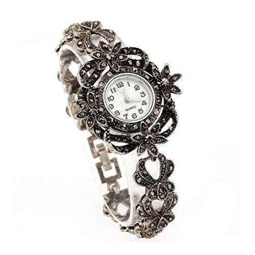 Lecker Maedsche Klassische Antikstil Trachtenschmuck Armbanduhr - Dirndl Armband mit Uhr - Kristall (Florales Design)