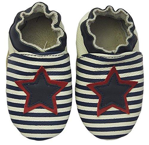 Rose & Chocolat RCC Star Stripe Baby Jungen Krabbelschuhe Blau (Navy)