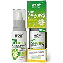 WOW Anti Pollution Sunscreen Water Resistant Sunscreen Lotion - No Parabens & Mineral Oils -Shields skin from PM2.5* pollutants